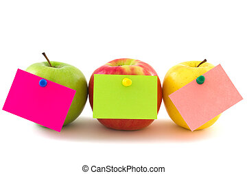 Three colorfull apples with memo stickers, horizontal