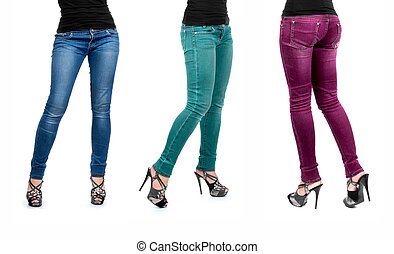 three colors of jeans