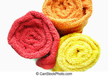 Three colour fluffy towels