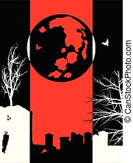 Three colours Halloween silhouette background