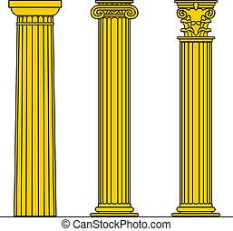 Three columns - Three different yellow columns isolated on...