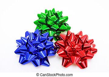 Three colurful Gift Bows