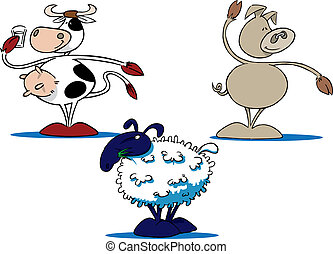 Three common farm animal cartoons