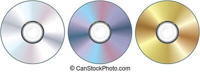 three compact disc - realistic compact disc - vector...