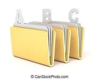 Three computer folder with ABC files 3D