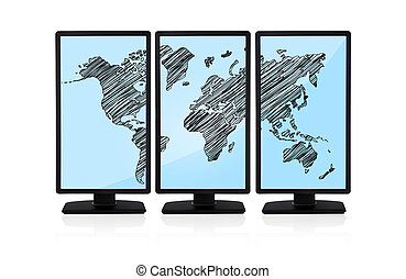world map on screen