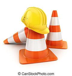Three cones road and helmet