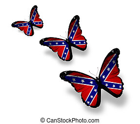 Three Confederate Rebel flag butterflies, isolated on white