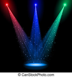Three conical RGB shafts of light shine at one point into...