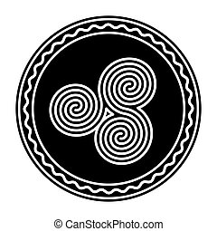Three connected Celtic double spirals, within a circle frame