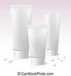 Three cosmetic tube