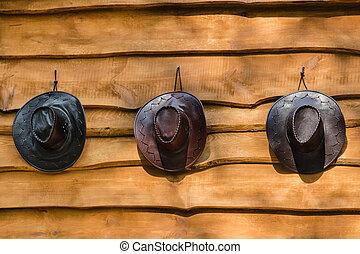 Three cowboy hats