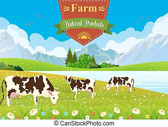 three cows in a landscape and farm.