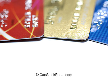 Three credit cards isolted on white background.