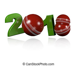 Three Cricket balls 2018 Design with a white Background