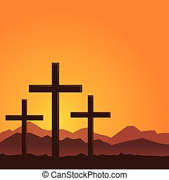 Three Cross On a Hill With Orange Background