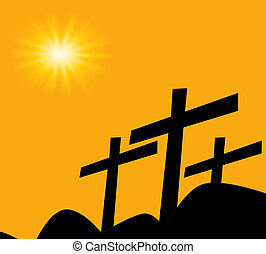 Three cross on hill with sunset