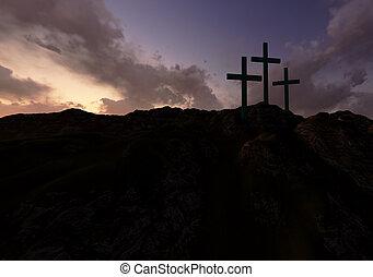 Three Crosses at Sunset