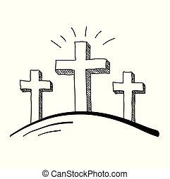 Three Crosses Doodle - Easter three crosses doodle vector