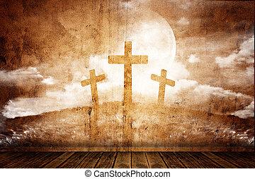 three crosses in a retro room