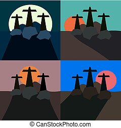 Three crosses in landscape