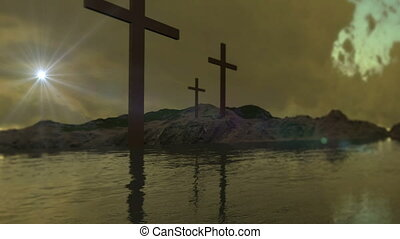 three crosses in the water with optical flares