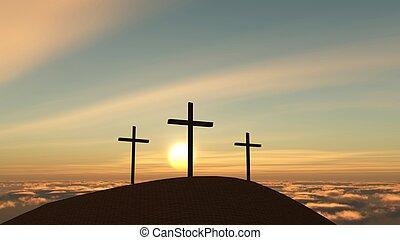 easter - three crosses on a hill, easter season