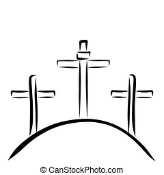 Three Crosses On Hill Clipart