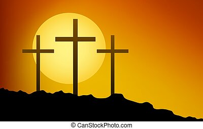 three crosses on the mountain for Good Friday