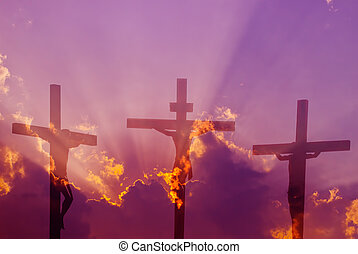 Three crosses over bright cloudy sky