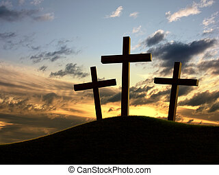Silhouette of three crosses over a dramatic sky.