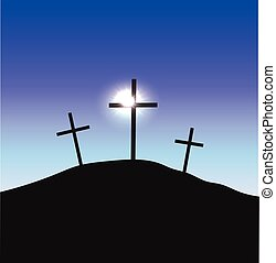 Three crosses standing on Golgotha