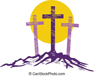 three stylized crosses with large sun