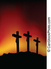 Three crosses - Abstract vector illustration of 3 figures on...