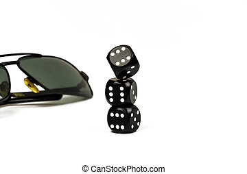 Three cube for close-up poker and sunglasses