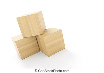three cubes made of wood