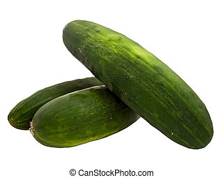 Three cucumbers isolated on a white background