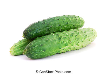 Three cucumbers isolated on white background