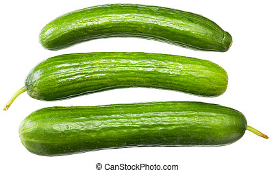 Three green cucumbers on a white background