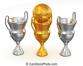Three cup with ball. 3d