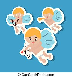 three cupid flying bow harp and trumpet