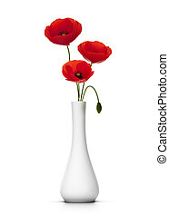 three cut poppies into a vase, white background, decor element