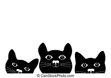 Silhouette of cats on white background.