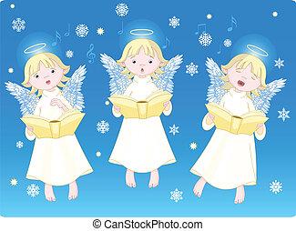 Three cute cartoon angels singing Christmas carols. Background is separate layer