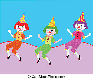 clowns - three cute clowns