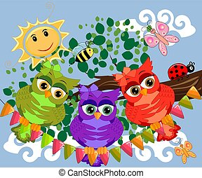 Three cute colorful cartoon owls sitting on tree branch with flowers.