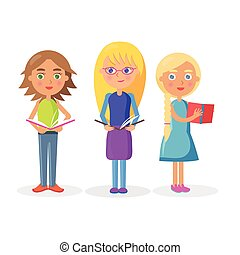 Three Cute Girls Holding Open Textbooks on White