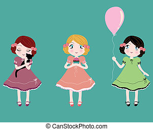 cute girls - three cute girls holding three cute things