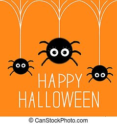 Three cute hanging fluffy spiders. Happy Halloween card. Flat design