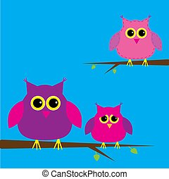 Three cute owls and cloud. Card.